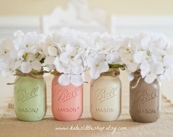 Set of 4 Pint Size Painted Mason jars. Sage/Peach/Cream/Mocha. Wedding Decor. Home Decor. Centerpieces. Table Topper. Spring. Mothers Day.