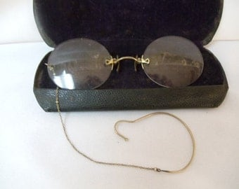 Unique Style Antique Framless early 1900's or earlier Ear Loop Spectacle Glasses