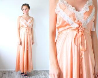 Vintage maxi light peach orange maxi dress // small medium lace dress / 1960's fancy dress / maxi formal dress / lace nightgown floor length
