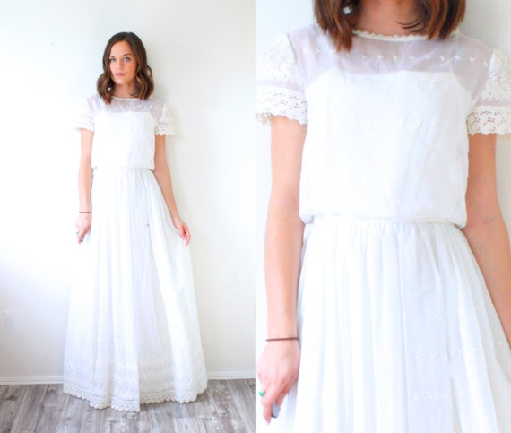 Vintage ivory wedding dress boho casual by beigevintageco for Ivory casual wedding dresses