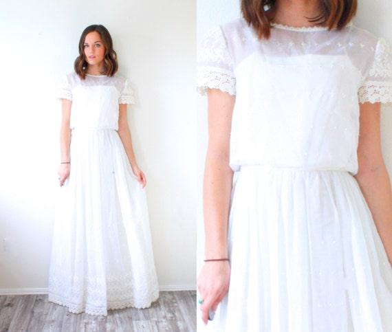 Vintage Ivory Wedding Dress Boho Casual By Beigevintageco