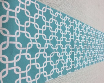 Turquoise and White Premier Prints Gotcha Twill Table Runner 90 x 16 Wedding Easter Dinner