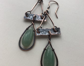 Copper earrings  with long green aventurine beads - wire wrapped copper earrings