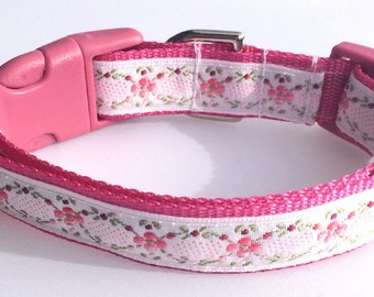 Deep Pink Floral Woven Ribbon  Dog Collar Size XS or S