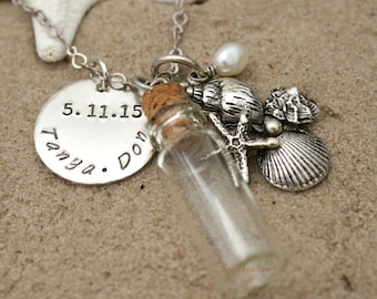SAND BOTTLE NECKLACE, Beach Jewelry, Beach Wedding Gift,  Beach Wedding Favor, Seaside Sand in a Bottle Necklace by Cheydrea