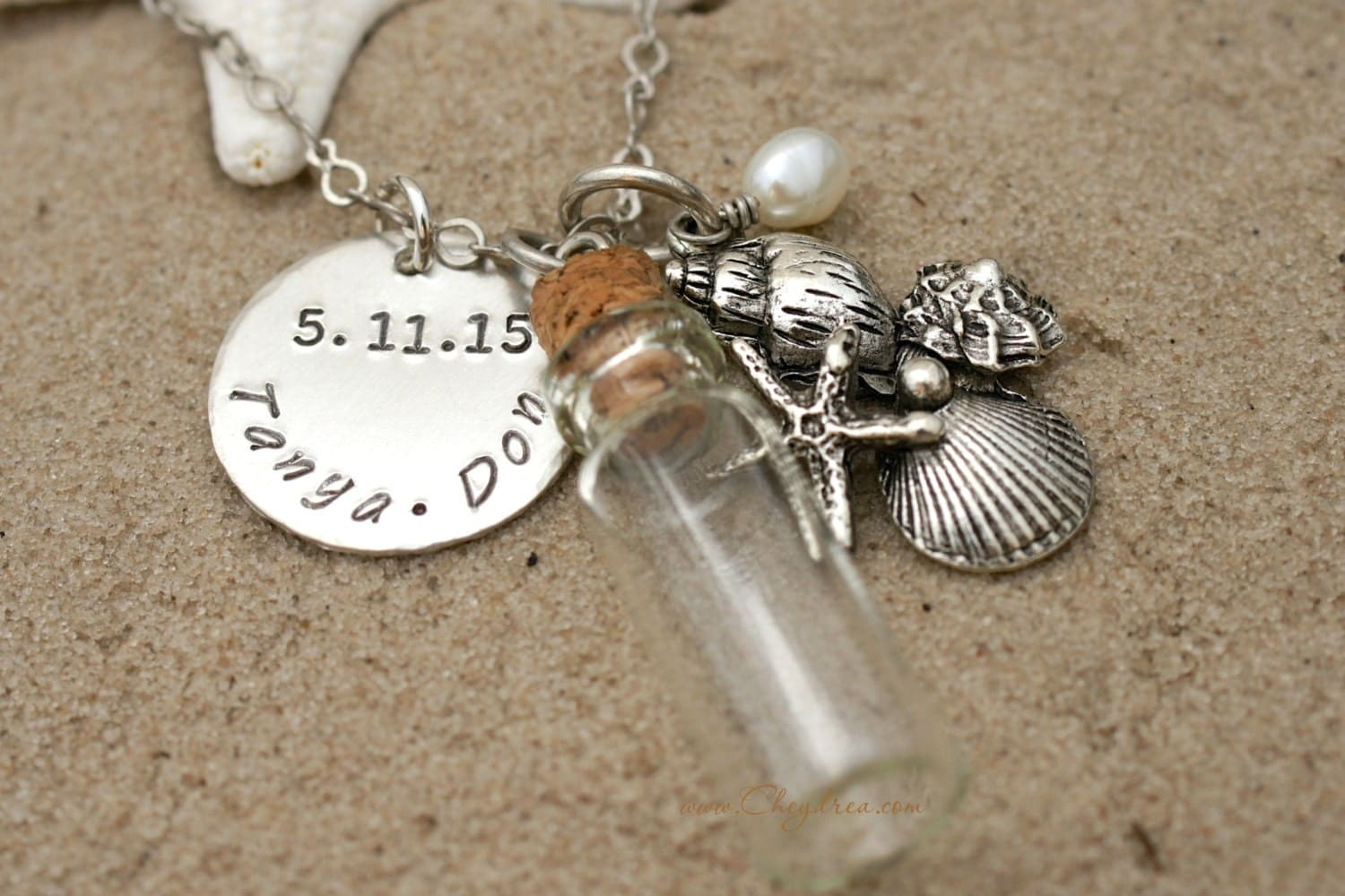 Wedding Gift Necklace: SAND BOTTLE NECKLACE Beach Jewelry Beach Wedding Gift By