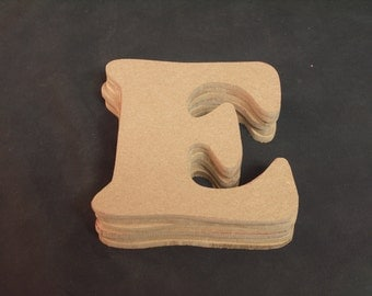 """Hand Cut Alphabets, Pack of 6 """"E"""", 4.25"""" Tall, Blank, Ready for your art work"""