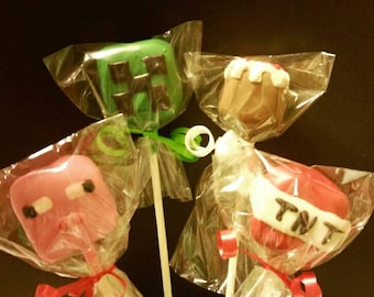 12 Minecraft inspired  cake pops Minecraft party favors Mine Craft party treats