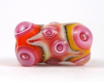 Large Pink, Orange and Yellow Lampwork Focal Glass Bead