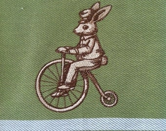 Bicycling Bunny - Steampunk Dapper Rabbit on a velocipede penny farthing