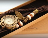 Women watch leather bracelet with a exquisite leaf charm gift for her women watches ladies watch women wrist watch boho watch vintage