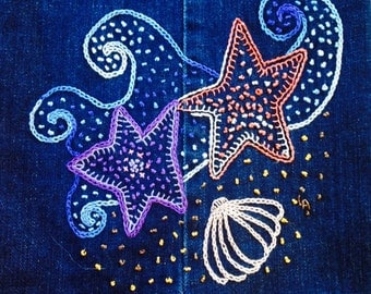 SEA STAR DANCE Beginner Crewel Embroidery Pattern