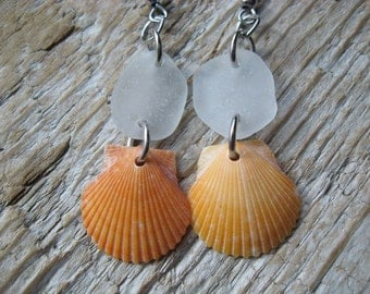 SALE SIMPLE Beach Glass and Shell Dangle Earrings