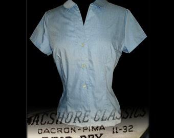 Vintage 1950s Blouse  .  Blue  .  50s Blouse