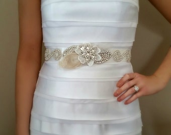Bridal Sash, Wedding Sash, HAYLEE, Bridal Belt, Wedding Belt, Floral Belt, Sash, Belt