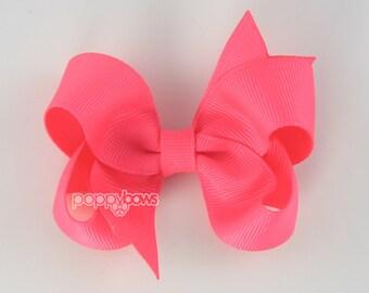 Hot Pink Hair Bow - girls hair bows - toddler hair bows - baby hair bows - boutique girl bows - 3 inch bows - girls hair clips