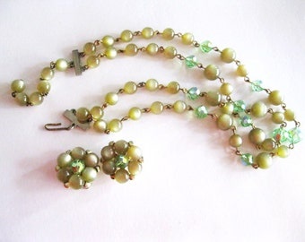 Beige Moonstone and Green Aurora Borealis Necklace Earrings Set Vintage