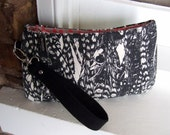 Small Wristlet Purse / Zip Pouch Wallet / Black and White Feather Print French Denim / Swoon Patterns Coraline