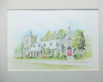 Custom Wedding Watercolor of Church Chapel or Location. Made to Order