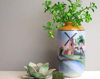 Vintage Japanese lusterware vase with windmill scene - 1930s vintage peach and blue lusterware - painted landscape