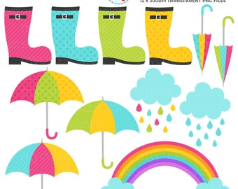 Rainy Days Clipart Set - clip art set of umbrellas, boots, clouds, rain, april shower - personal use, small commercial use, instant download