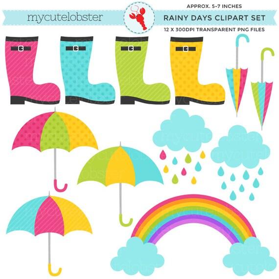 Rainy Day Clip Art: Rainy Days Clipart Set Clip Art Set Of Umbrellas Boots