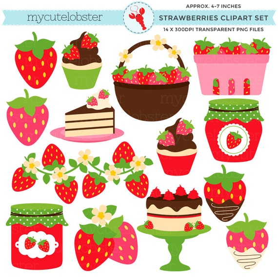 Strawberries Clipart Set clip art set of strawberries