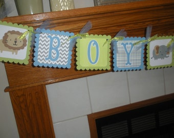 Boy Oh Boy Baby Banner, Animal Boy Shower Banner, Lion, Elephant, Monkey Baby Safari Banner Matching Tissue Pom Poms are Available