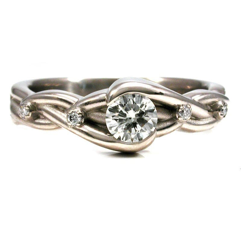 braided white gold and engagement ring modern bridal