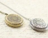 Large Antique Silver Locket Necklace - Large Antique Bronze Locket - Layering Locket - Long Necklace - Bridesmaid Necklace - Boho Necklace