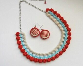 Crochet Necklace and Crochet Button Earrings - Handmade Jewelry -Crochet Jewelry SET -Fiber Art Jewelry