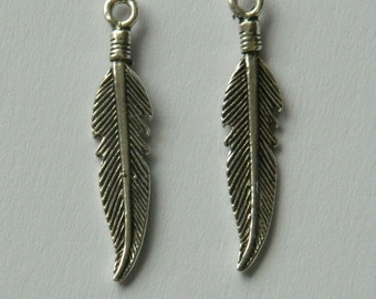 4 Sterling Silver 925 Southwestern Style Leaf Feather Charm Beads S,M,L sizes