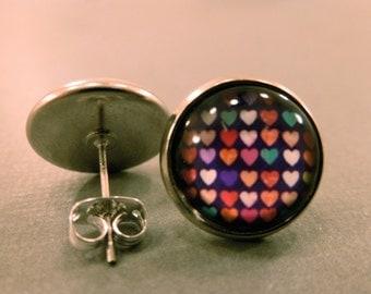 Heart Stud Earrings: Multi Coloured Heart Cabochon Studs, Fake Plugs, Heart Earrings, Mothers Day, Summer