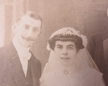 Antique European Victorian Wedding Photo Men with Handlebar Moustaches