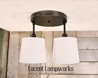Lighting Twin Series with White Linen Shades