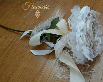 Bridal bouquet in white ivory champagne Composite single flower Wedding accessory Bridesmaids bouquet Bridal large flower Glamelia bouquet