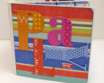 Playtime scrapbook Premade pagrd Chipboard Album friends kids playdate brother and sister