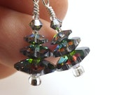 "Swarovski Christmas Tree Earrings, 3/4 inch (2cm) Drops, Dark ""Vitrail"" Rainbow Glint Mirror Crystals, Mini Earrings"