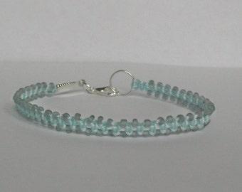 Friendship bracelet. Pale blue micro macrame beaded bracelet. Macrame Jewelry.