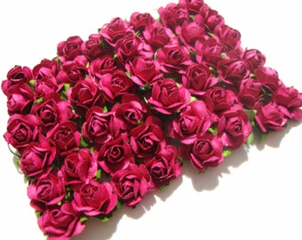 Mini Fuchsia Mulberry Paper Roses Flowers - 4 Bunches