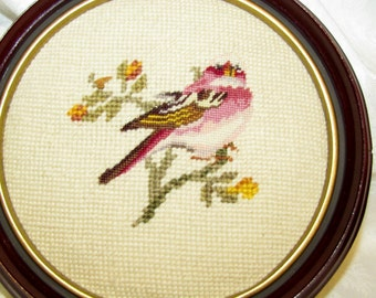 Gorgeous Vintage Mid Century Hand Stitched PETIT POINT PICTURE of Bird  Excellent Condition