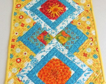 Yellow and Turquoise Floral-Table Runner, Free Shipping to US and Canada