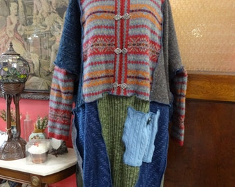 Patchwork Sweater,Patchwork Pancho,Bohemian Sweater,Shabby Chic Sweater,One Size Sweater,by Nine Muses Of Crete