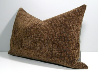 "SALE - Bronze Pillow Cover, Olive Green, Decorative Throw Pillow Case, Chenille Cushion Cover, Masculine Autumn Decor, 12""x18"""