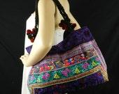Hmong Shoulder Bag,  Hilltribe Tote, Ethnic Purse, Floral Birds Embroidered, Tribal Handbag, Purple Bag HMT8