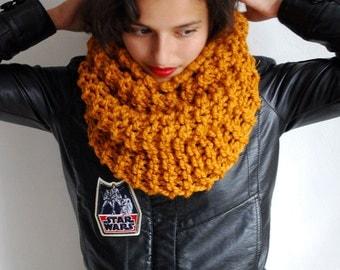 The Manhattan Cowl Hand Knit in Mustard Wool Blend