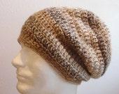 Brown Mens Slouchy Beanie Hipster Hat Crochet Slouch Beanie Tan Striped Men's Beanie Women's Hat Trendy Slouchy Beanie Hats for Teens