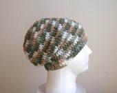 Slouch Hat Crochet Green Beanie, Mens Beanie, Womens Hat, Green Tan and White Striped, Mens Slouch Beanie, Gifts for Guys