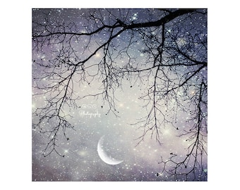 """Night Sky Photo. Moon Art. Purple sky. Dreamy. Surreal. """"Fairy Tale""""  Tree branches. silver. white. girly. stars. starry.  choose your size"""