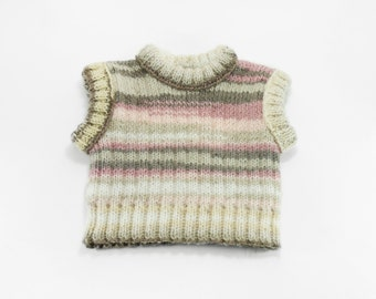 Knitted Baby Vest - Beige, Gray, White and Pink , 6 - 12 month